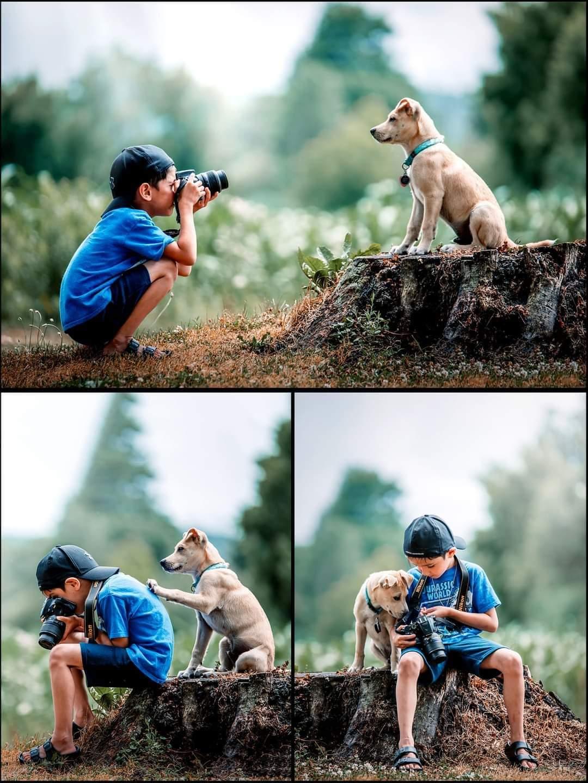 kid takes photos of dog