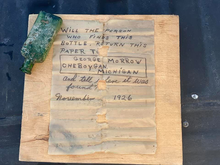 95 year old message in a bottle lake michigan