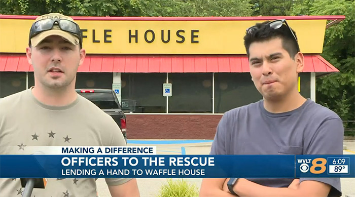police officers help waffle house