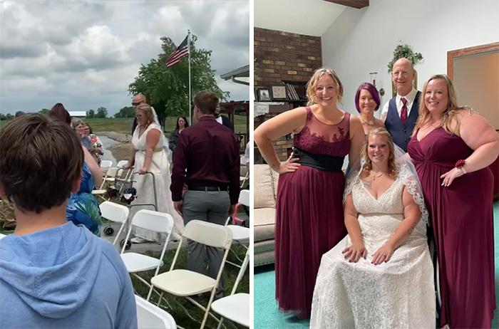 paralyzed bride walks down aisle